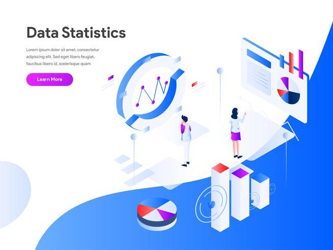 Concepto isométrico del ejemplo de las estadísticas de los datos Concepto de diseño plano moderno de diseño de página web para sitio web y sitio web móvil. Ilustración de vector EPS 10