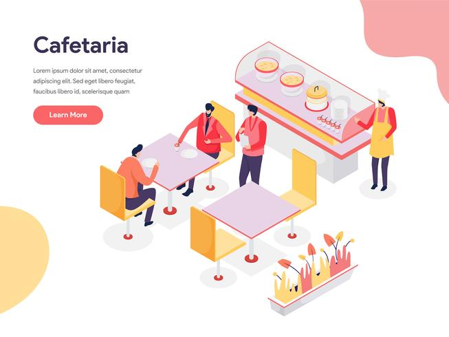 Cafetaria Illustration Concept. Isometric design concept of web page design for website and mobile website.Vector illustration vector