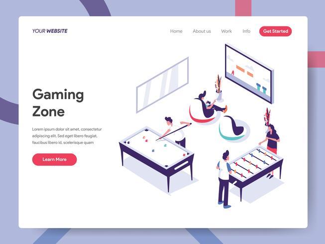 Landingpage-Vorlage von Gaming Zone Illustration Concept. Isometrisches flaches Konzept des Entwurfes des Webseitendesigns für Website und bewegliche Website Vektorillustration ENV 10 vektor