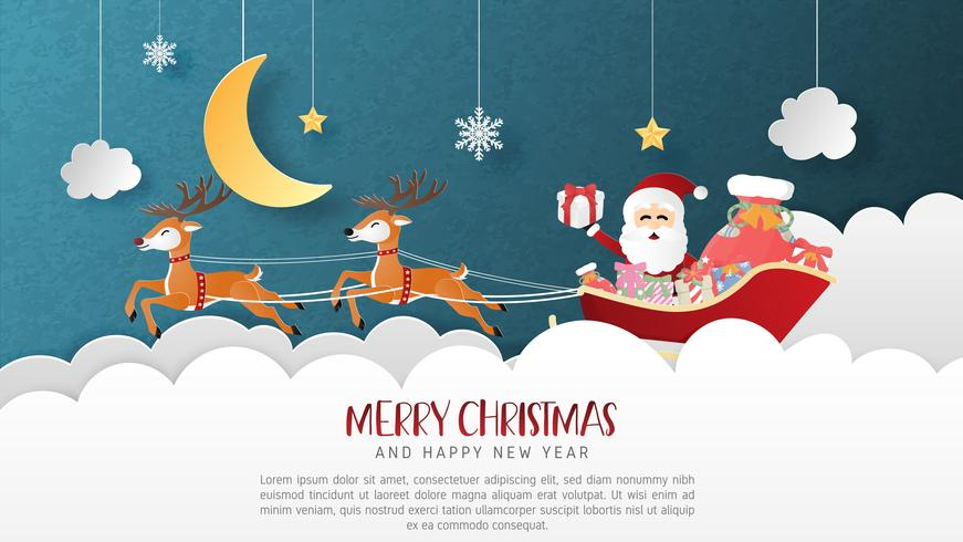 Merry Christmas and Happy new year greeting card in paper cut style. Vector illustration Christmas celebration background. Banner, flyer, poster, wallpaper, template, advertising display.