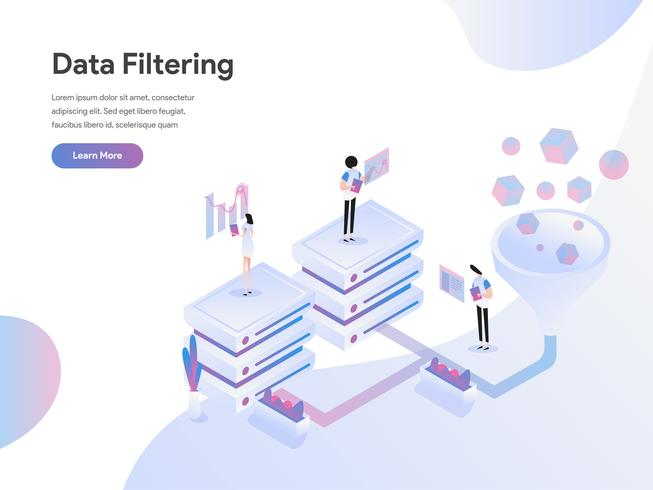 Landing page template of Data Filtering Isometric Illustration Concept. Flat design concept of web page design for website and mobile website.Vector illustration
