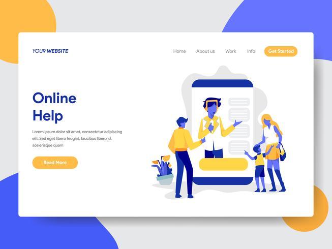 Målsida mall för online hjälp illustration koncept. Modernt plattdesignkoncept av webbdesign för webbplats och mobilwebbplats. Vektorns illustration vektor