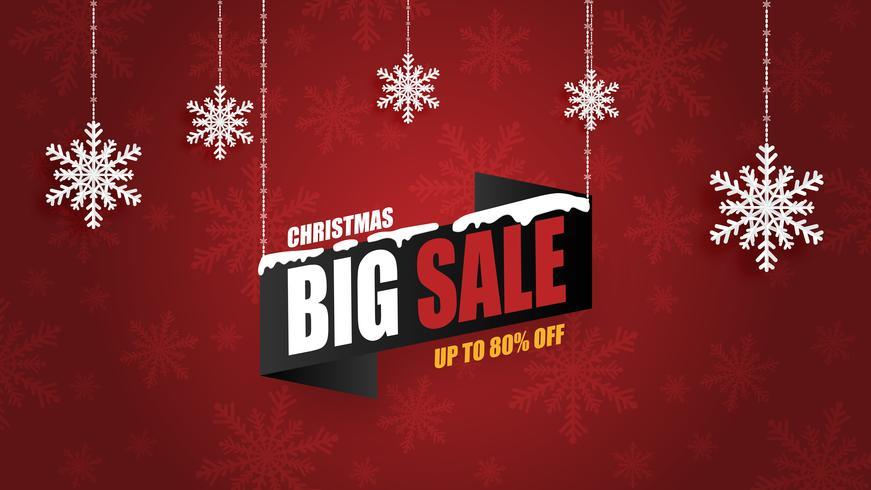 El fondo de la bandera de la venta de la Navidad con los copos de nieve de la ejecución en papel cortó estilo. Diseño de ilustración vectorial para banner, flyer, cartel, telón de fondo, folleto, pantalla publicitaria.
