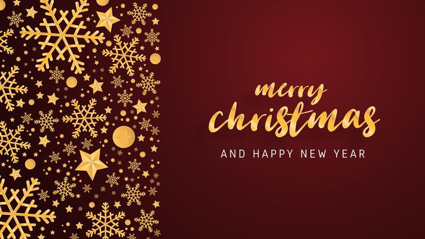 El lujo de la tarjeta de felicitación de la Feliz Navidad y de la Feliz Año Nuevo en papel cortó el fondo del estilo. Vector la celebración de la Navidad del ejemplo con la decoración para la bandera, aviador, cartel, papel pintado, plantilla.