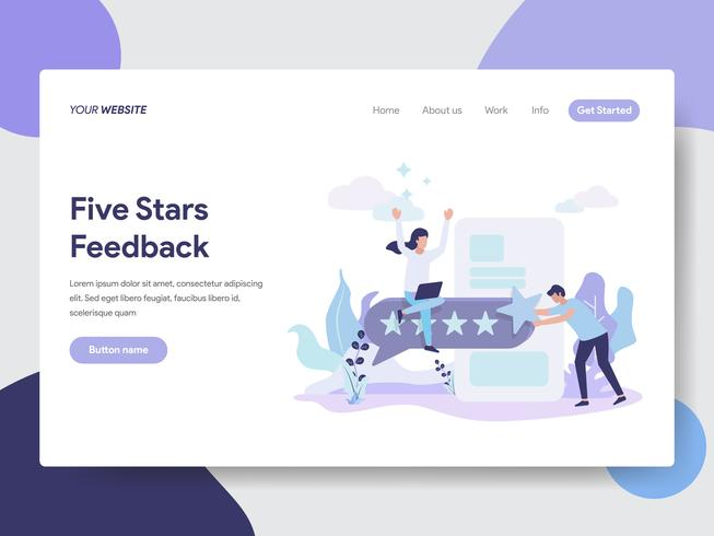 Landing page template of Five Stars Feedback Illustration Concept. Modern flat design concept of web page design for website and mobile website.Vector illustration
