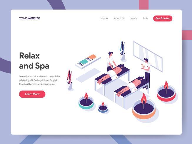 Målsida mall av Relax och Spa Illustration Concept. Isometrisk plattformkoncept för webbdesign för webbsidor och mobilwebbplats. Vector illustration EPS 10