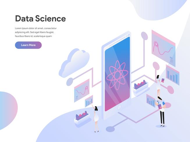 Landing page template of Data Science Isometric Illustration Concept. Isometric flat design concept of web page design for website and mobile website.Vector illustration