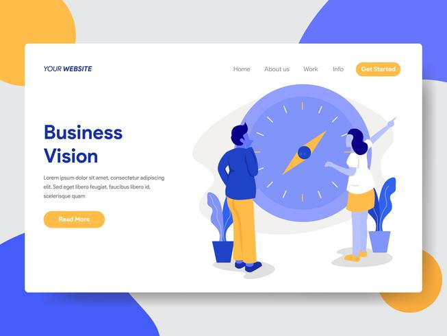 Landing page template of Businessman with Vision and Compass Illustration Concept. Modern flat design concept of web page design for website and mobile website.Vector illustration vector