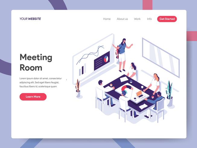Modello della pagina di atterraggio del concetto dell'illustrazione della sala riunioni. Concetto di design piatto isometrica della progettazione di pagine Web per sito Web e sito Web mobile. Illustrazione di vettore ENV 10