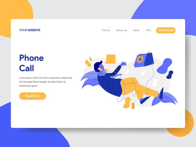 Landing page template of Businessman on Phone Call Illustration Concept. Modern flat design concept of web page design for website and mobile website.Vector illustration vector