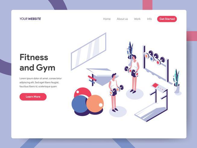 Modello di pagina di destinazione del concetto di illustrazione palestra e fitness. Concetto di design piatto isometrica della progettazione di pagine Web per sito Web e sito Web mobile. Illustrazione di vettore ENV 10