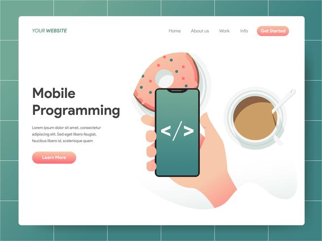 Concetto di programmazione mobile dell'illustrazione. Concetto di design moderno di progettazione di pagine Web per sito Web e sito Web mobile. Illustrazione di vettore 10 EPS