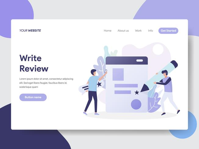 Landing page template of Write Review Illustration Concept  Modern