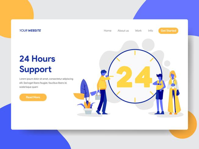 Landing page template of 24 Hours Live Support Illustration Concept. Modern flat design concept of web page design for website and mobile website.Vector illustration vector
