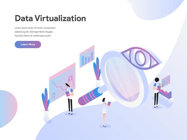 Landing page template of Data Virtualization Isometric Illustration Concept. Isometric flat design concept of web page design for website and mobile website.Vector illustration vector