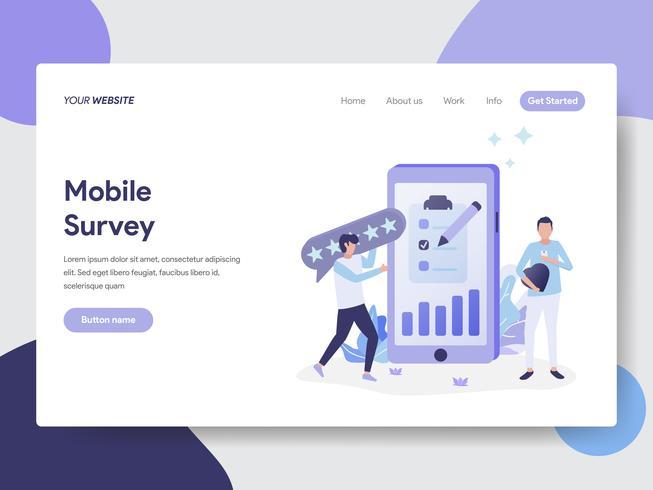 Plantilla de página de destino del concepto de ilustración de Moile Survey. Concepto de diseño plano moderno de diseño de página web para sitio web y sitio web móvil. Ilustración de vector