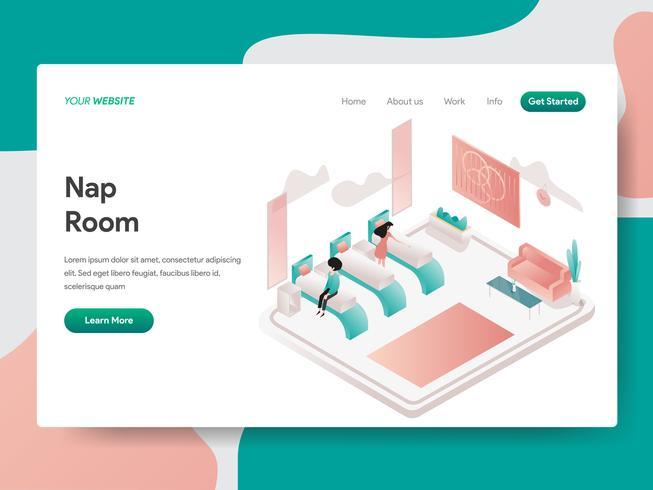 Plantilla de página de destino del concepto de ilustración de habitación de siesta. Concepto de diseño isométrico de diseño de página web para sitio web y sitio web móvil. Ilustración de vector