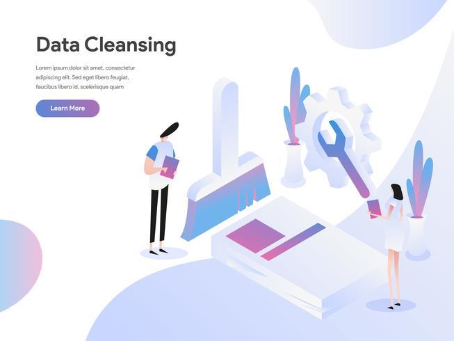Plantilla de la página de destino del concepto de ilustración isométrica de limpieza de datos. Concepto de diseño plano isométrico de diseño de página web para sitio web y sitio web móvil. Ilustración de vector