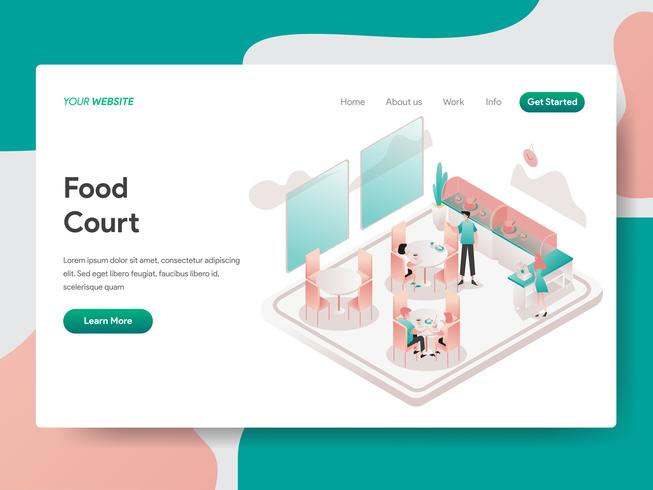 Landing page template of Food Court Illustration Concept. Isometric design concept of web page design for website and mobile website.Vector illustration vector