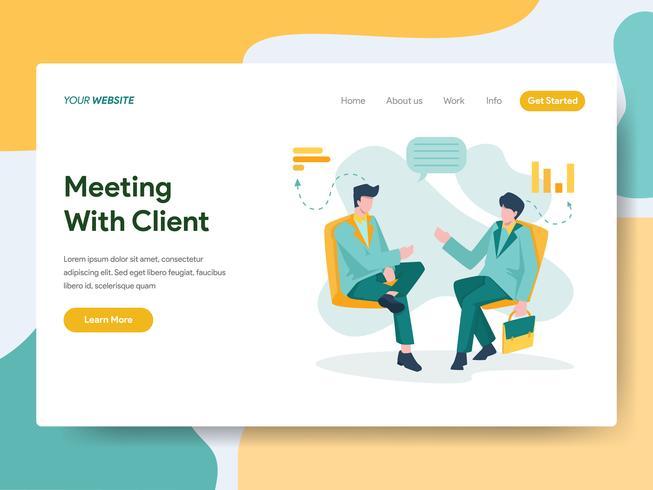 Modello della pagina di atterraggio della riunione d'affari con il concetto dell'illustrazione del cliente. Moderno concetto di design piatto di progettazione di pagine Web per sito Web e sito Web mobile. Illustrazione di vettore