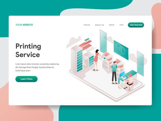 Plantilla de la página de destino del concepto de ilustración de servicio de impresión. Concepto de diseño isométrico de diseño de página web para sitio web y sitio web móvil. Ilustración de vector