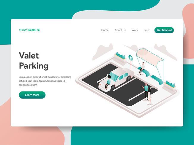 Molde da página da aterrissagem do conceito da ilustração do estacionamento personalizado. Conceito de design isométrico do design de página da web para o site e site móvel.