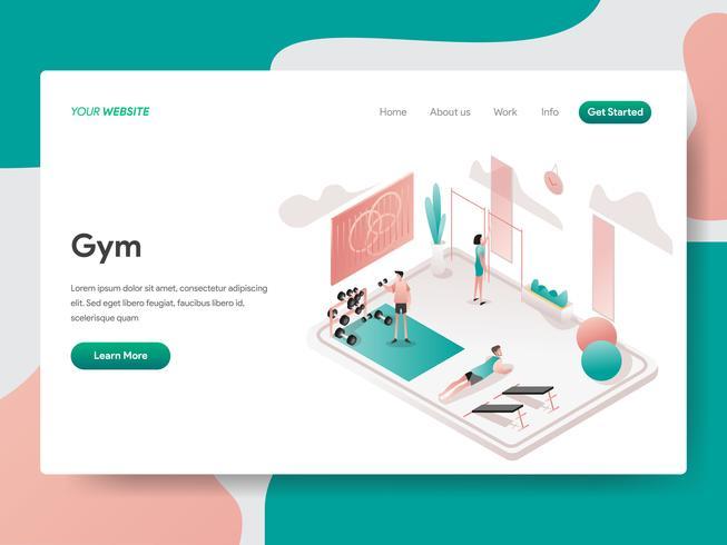 Plantilla de la página de destino del concepto de ilustración de sala de gimnasio. Concepto de diseño isométrico de diseño de página web para sitio web y sitio web móvil. Ilustración de vector