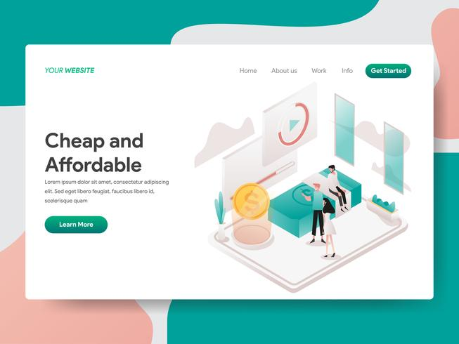 Landing page template of Cheap and Affordable Illustration Concept. Isometric design concept of web page design for website and mobile website.Vector illustration