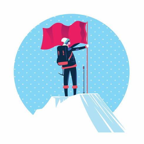 Mens met vlag die zich bovenop de bergpiek bevindt vector
