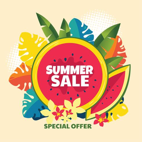 Abstract Summer Sale Background with Watermelon and Tropical Leaf