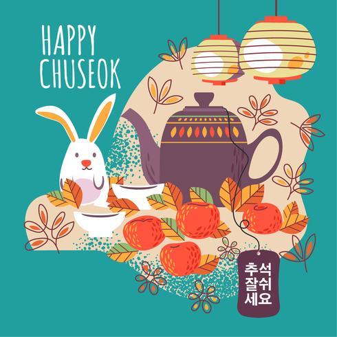 Mid Autumn Festival met schattige theepot, lantaarn, konijn, kersenbloesem. Gelukkige Chuseok. Woorden in Koreaans betekent goed moment voor Chuseok