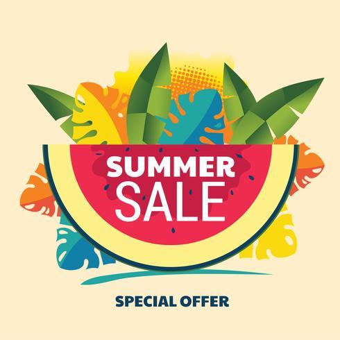 Fond abstrait vente d'été avec la pastèque et feuille tropicale