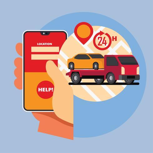 Mano que sostiene el teléfono inteligente. Asistencia en línea en carretera, concepto de aplicación móvil de servicio de remolque de automóviles. vector
