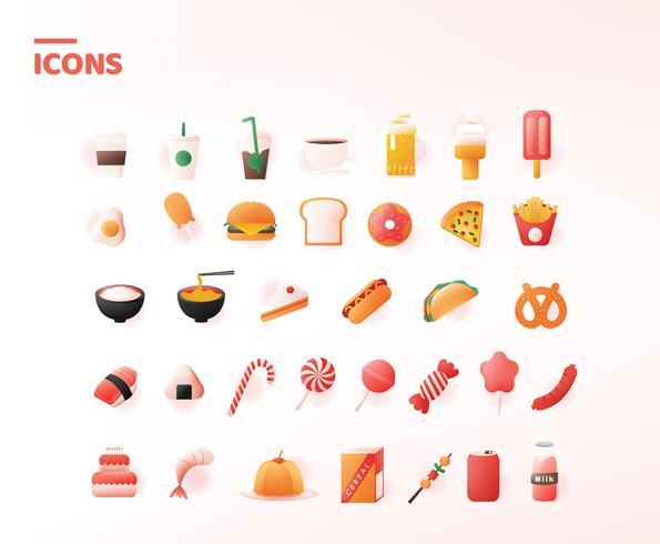 Pack de nourriture icônes vectorielles