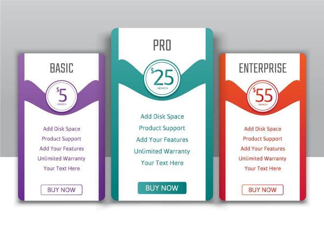 Planes de precios para sitios web y aplicaciones.