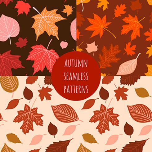 Conjunto de vector dibujado a mano patrones sin fisuras otoño