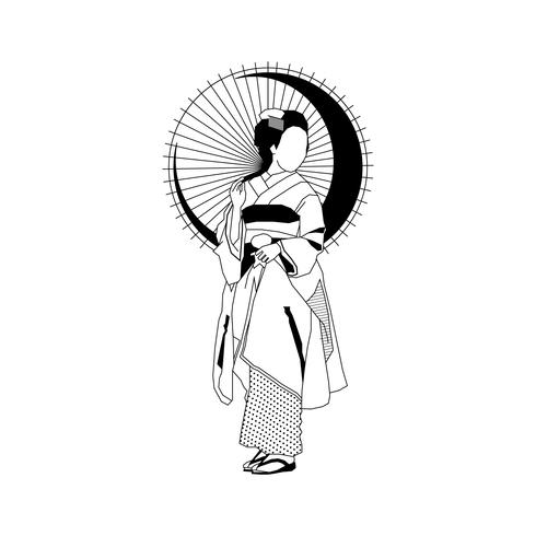 Geisha avec parapluie
