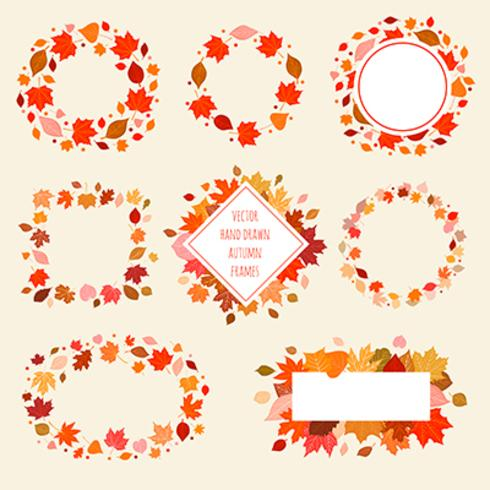 Ensemble d'images d'automne dessinés à la main de vecteur