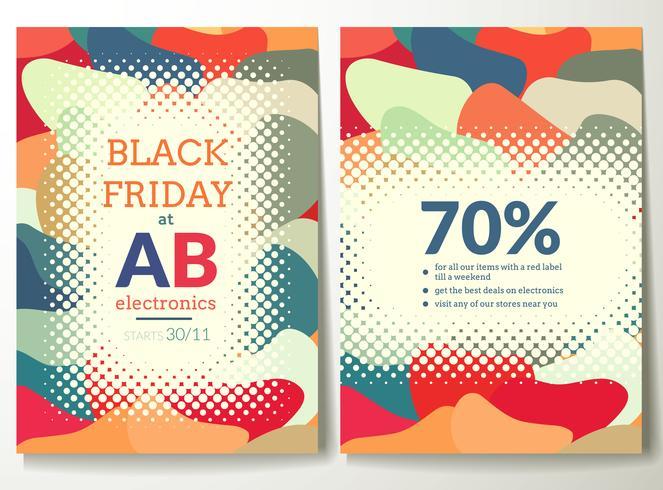 Schwarzer Freitag Flyer Vorlage mit abstrakten bunten Formen Hintergrund