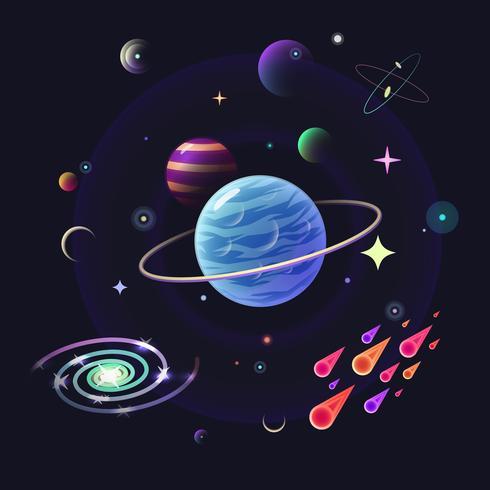 Fondo de vector de espacio con planetas brillantes, estrellas, cometas