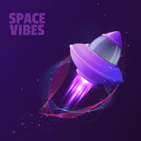 Diseño vectorial con nave espacial con fuego de motor y ondas brillantes abstractas