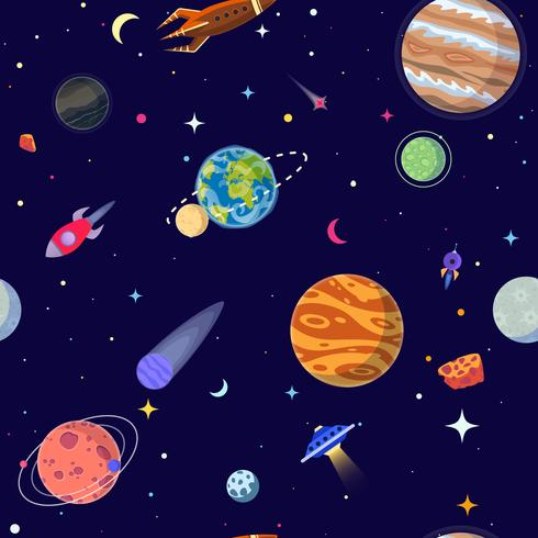 Sin patrón de los planetas en el espacio abierto. Estilo de dibujos animados de ilustración vectorial vector