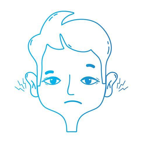 homem de linha com otite infecção de doença de dor de ouvido
