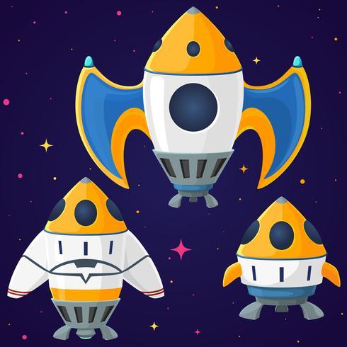 Satz Karikaturvektorraumschiffe und -raketen