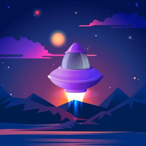 Ruimteschip begint te flz in de nachtsterren. Vector illustratie