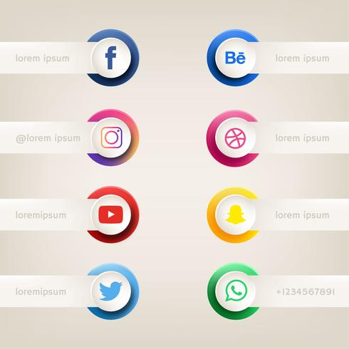 Botón de redes sociales vector pack