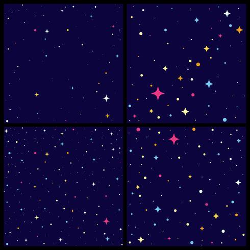 Conjunto de fondo de cielo nocturno con estrellas brillantes, ilustración vectorial de estilo plano