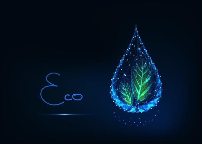 Gota de água poligonal transparente brilhante futurista com folhas verdes e texto eco.
