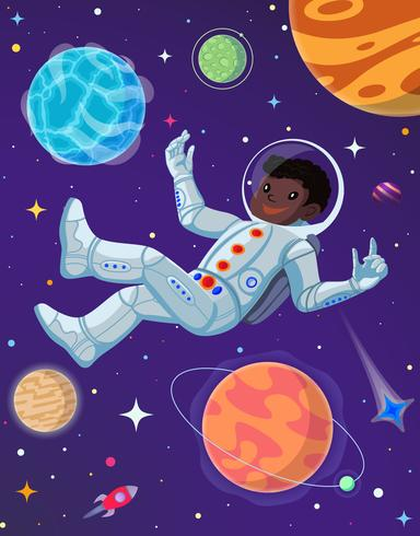 Spaceman at open space floating in antigravity. Vector cartoon illustration