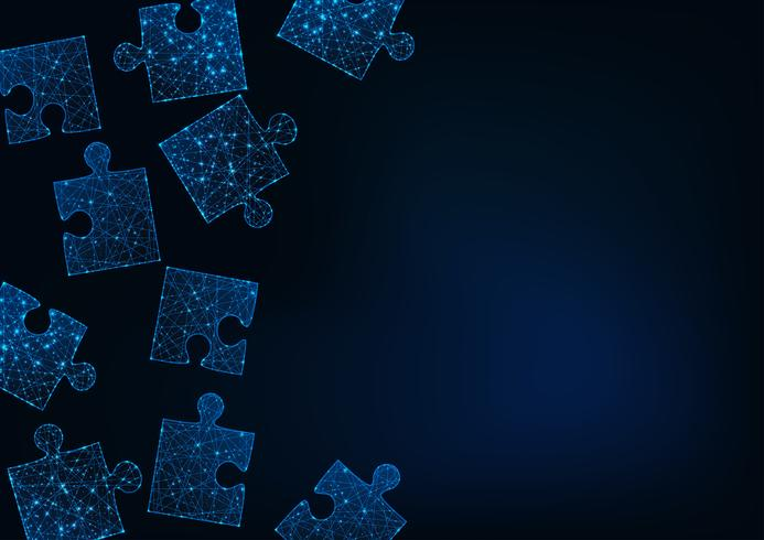 Futuristic glow low poly jigsaw puzzle pieces abstract background with space for text on dark blue. vector
